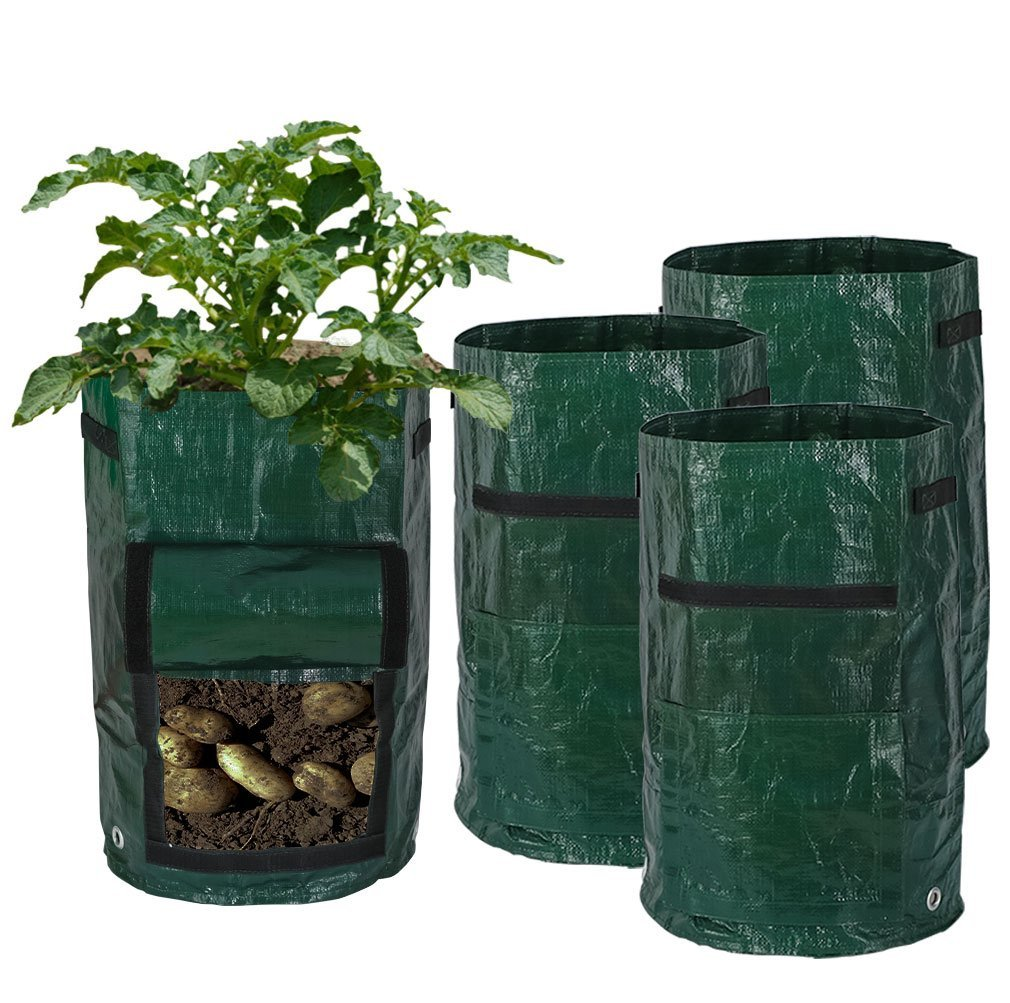 superbpag 4 Pack 10 Gallon Garden Potato Grow Bags with Access Flap and Handles Aeration Fabric Pots for Carrot, Tomato, Onion and so on