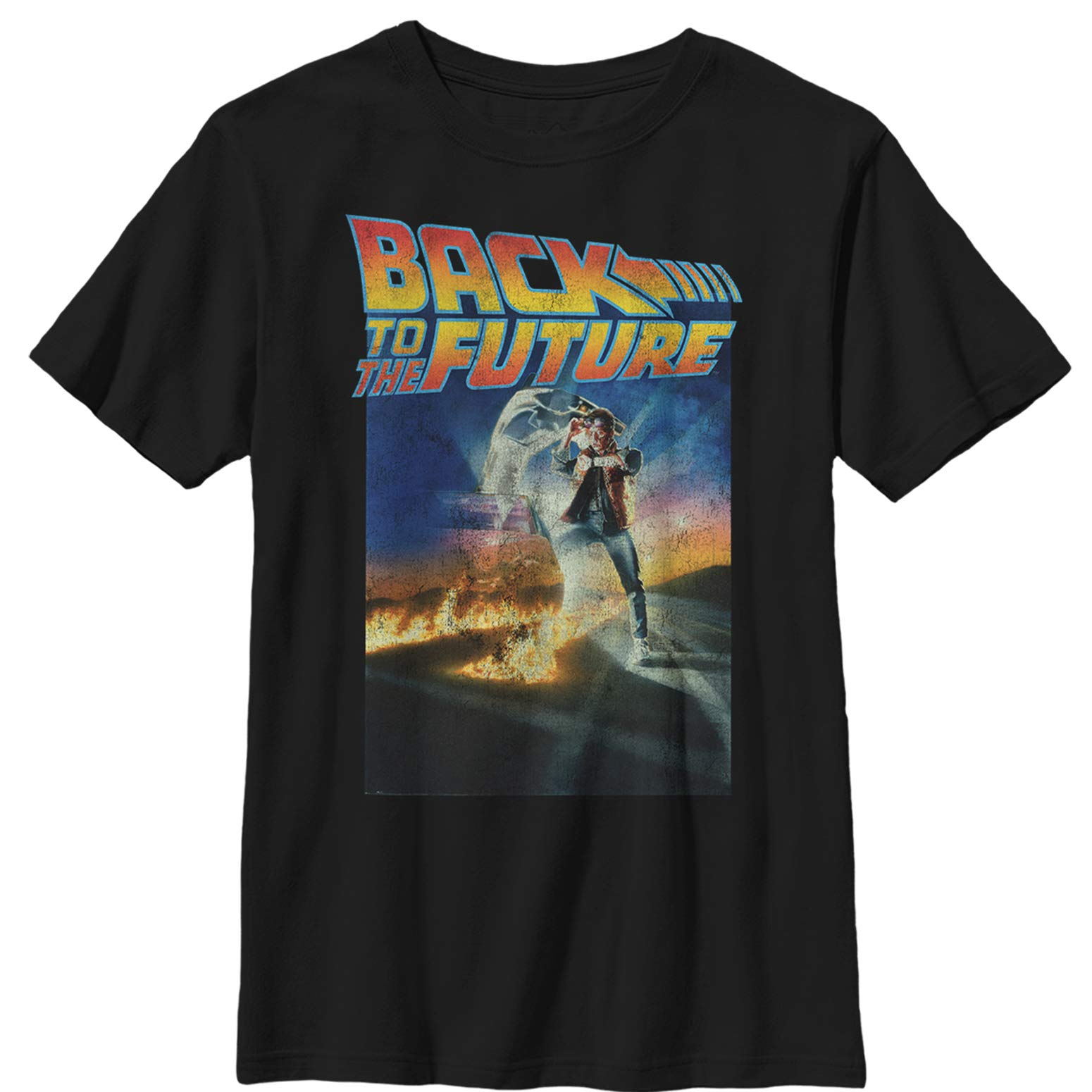 Fifth Sun Back to The Future Boys' Retro Marty McFly Poster Black T-Shirt