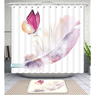 Unique Custom Bathroom 2 Piece Set Watercolor Feather With Butterfly On White As Symbol Of Lightness Shower Curtains And Bath Mats 60Wx72H 23Wx16