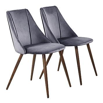 H.J WeDoo 2er Set Esszimmerstühle Samt Kissen Küchentisch Stühle mit ...