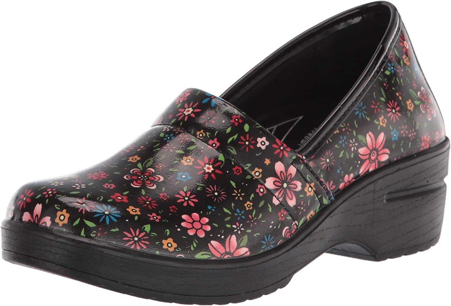 Easy Works by Easy Street womens Laurie Clog, Black-groovy-floral-patent, 8.5 Wide US