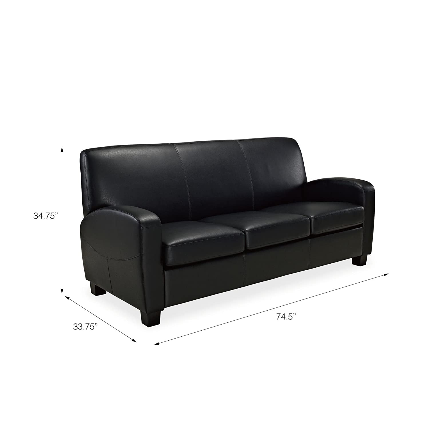 Amazon Com Mainstays Faux Leather Sofa Black Kitchen Dining
