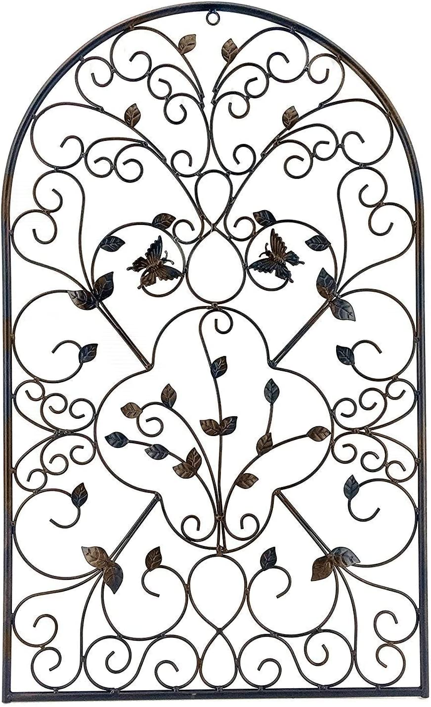 Bellaa 23196 Spanish Architectural Pattern Metal Wall Art Garden Plaque Butterfly 31 inch (Brown, Large)