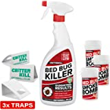 CRITTERKILL DIY BED BUG KILLER KIT - 1L CritterKill Professional Bed Bug Killer Spray + 3 x 3g BED BUG Smoke Bomb + 3 Insect Traps