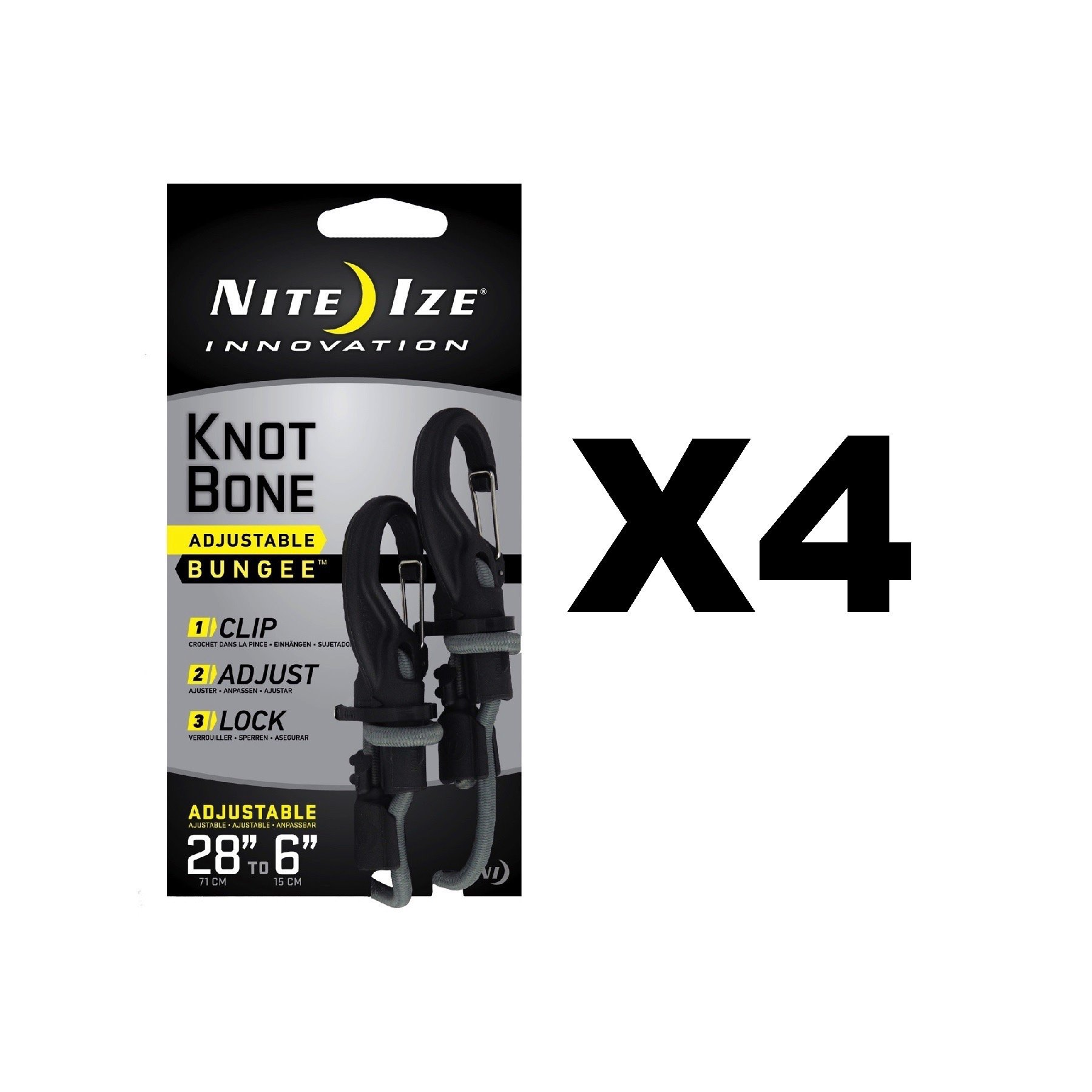 Nite Ize KnotBone Adjustable Bungee Small 5mm 6''-28'' w/ Carabiner Clip (4-Pack)