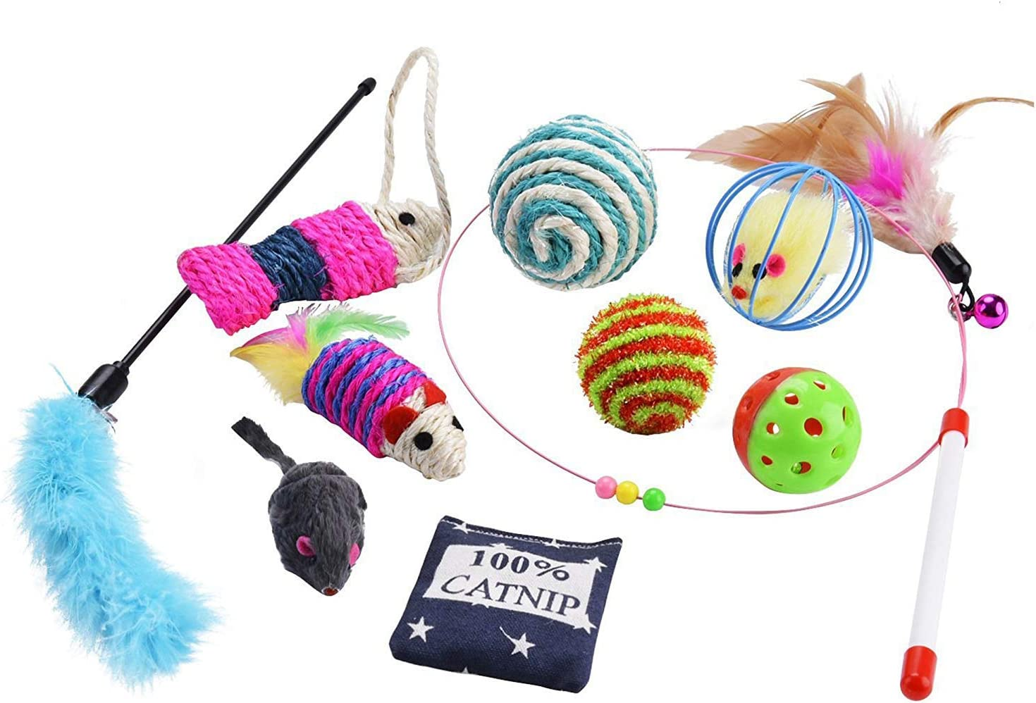Juguetes para Gatos, 10 Piezas Juguete Interactivo para Gatos con Plumas para Kitty, mascotas juguetes, Juguete para Perros