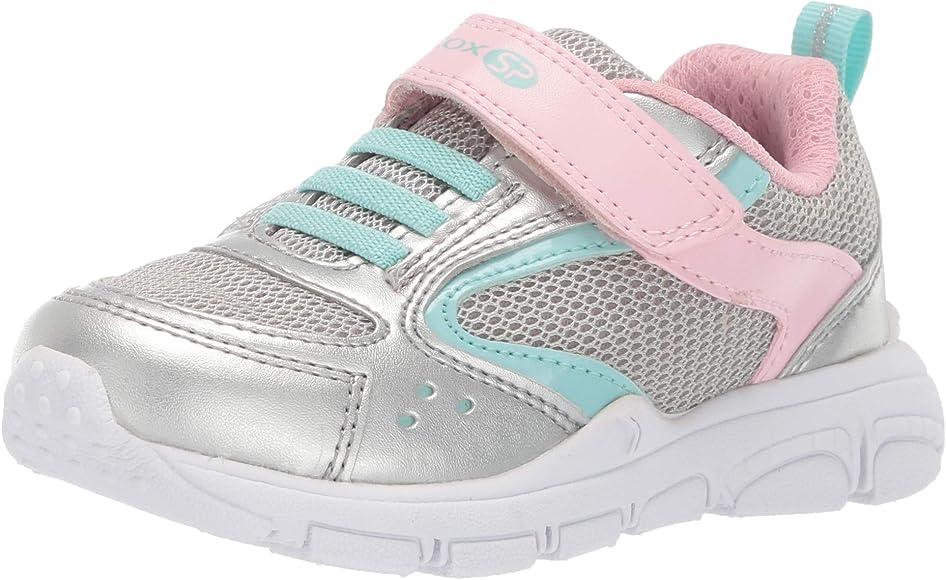 Geox New Torque Girl 1 SP Velcro Sneaker, SilverPink 27