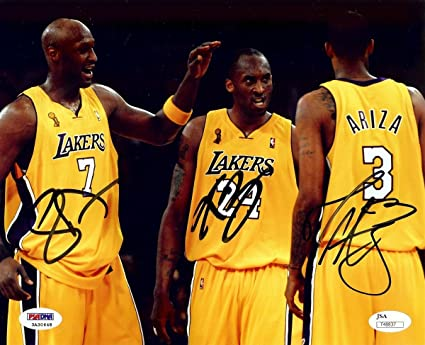 a21bfdbee78 Kobe Bryant Odom Ariza Triple Signed Autographed 8X10 Photo Lakers JSA  T48837