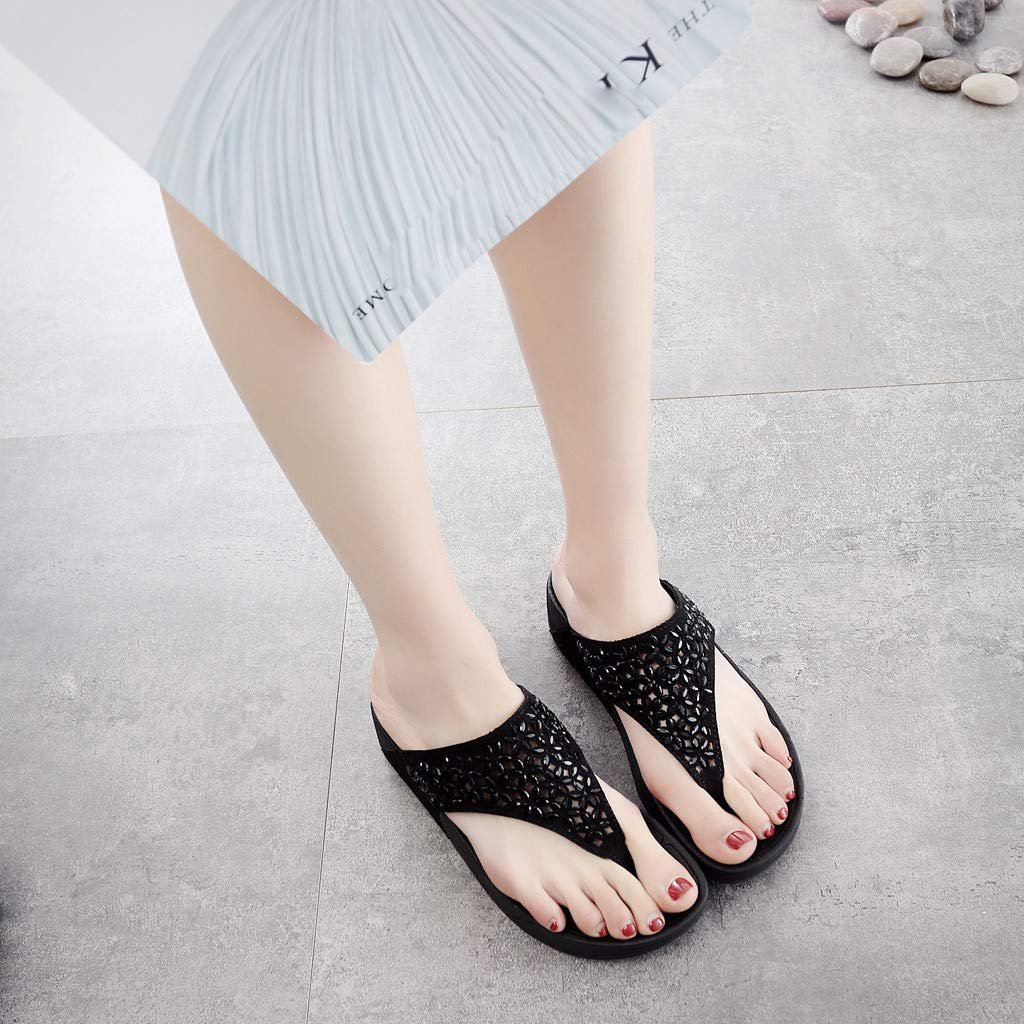 Flops Slip US:6.5, Brown Lady Flats Thick Bottom Sandals Beach Anti-Slip Shoes Casual Post Slippers Womens Platform Flip