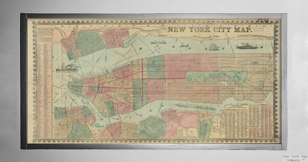 Amazon.com: 1857 Map New York New York Jersey City New York City map on