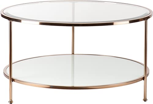 Southern Enterprises Risa Cocktail Table, Metallic Gold White