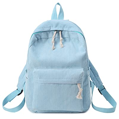 Simdoc Fashion Women Girls Students Corduroy Backpack, Rucksack, School Bags (blue) | Kids' Backpacks