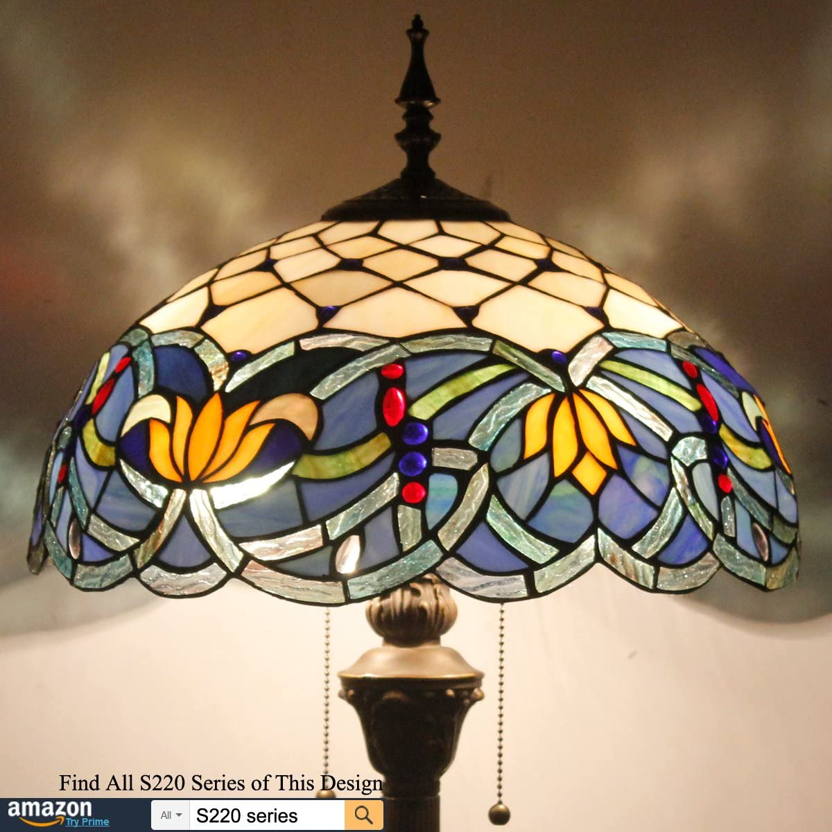 Tiffany Style Floor Standing Lamp 64 Inch Tall Blue Stained Glass Shade Crystal Bead Dragonfly 2E26 Pull Chain Antique Base for Living Room Bedroom Coffee Table S004 WERFACTORY