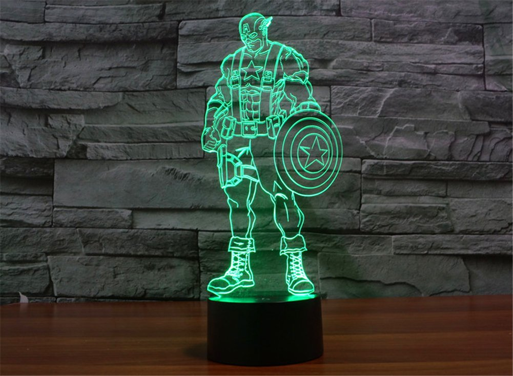 SmartEra® 3D Optical Illusion 2016 New Captain America Panel Model Lighting Night 7 Color Change USB Touch button LED Desk Table Light Lamp