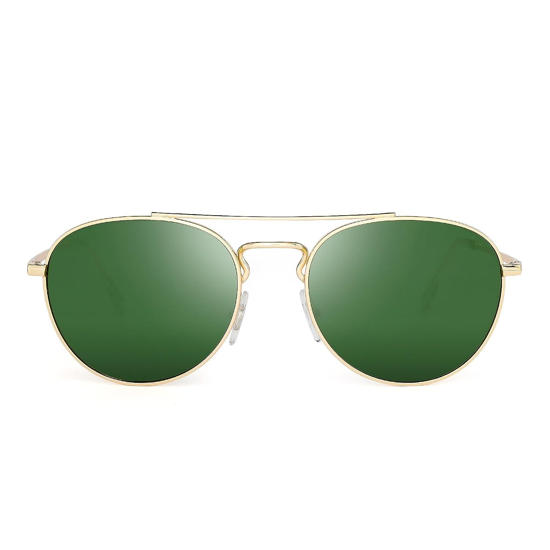 Jim Halo Gafas de Sol Aviador Redondas Clásico Lente de Cristal de Alta Calidad Plano Metal Anteojos Hombre Mujer