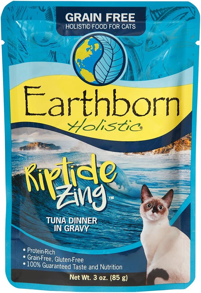 Earthborn Holistic Riptide Zing with Tuna & Gravy Grain-Free Wet Cat Food Pouches, Case of 24