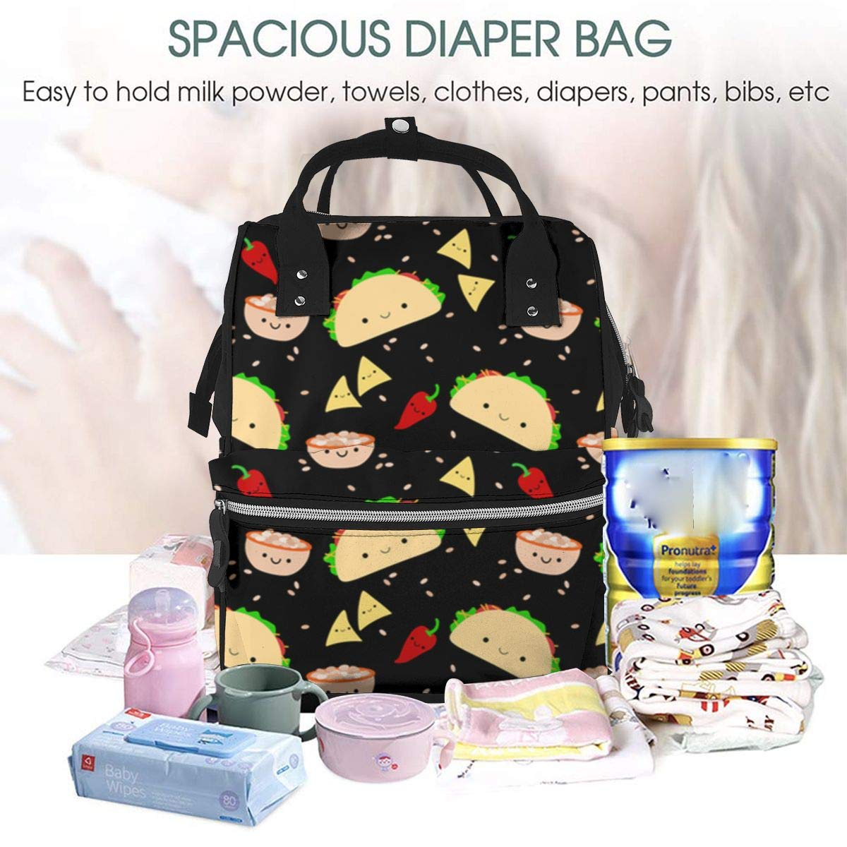 3274e6498d2e Amazon.com : Diaper Bag Backpack Taco Tuesday Party Multifunction ...