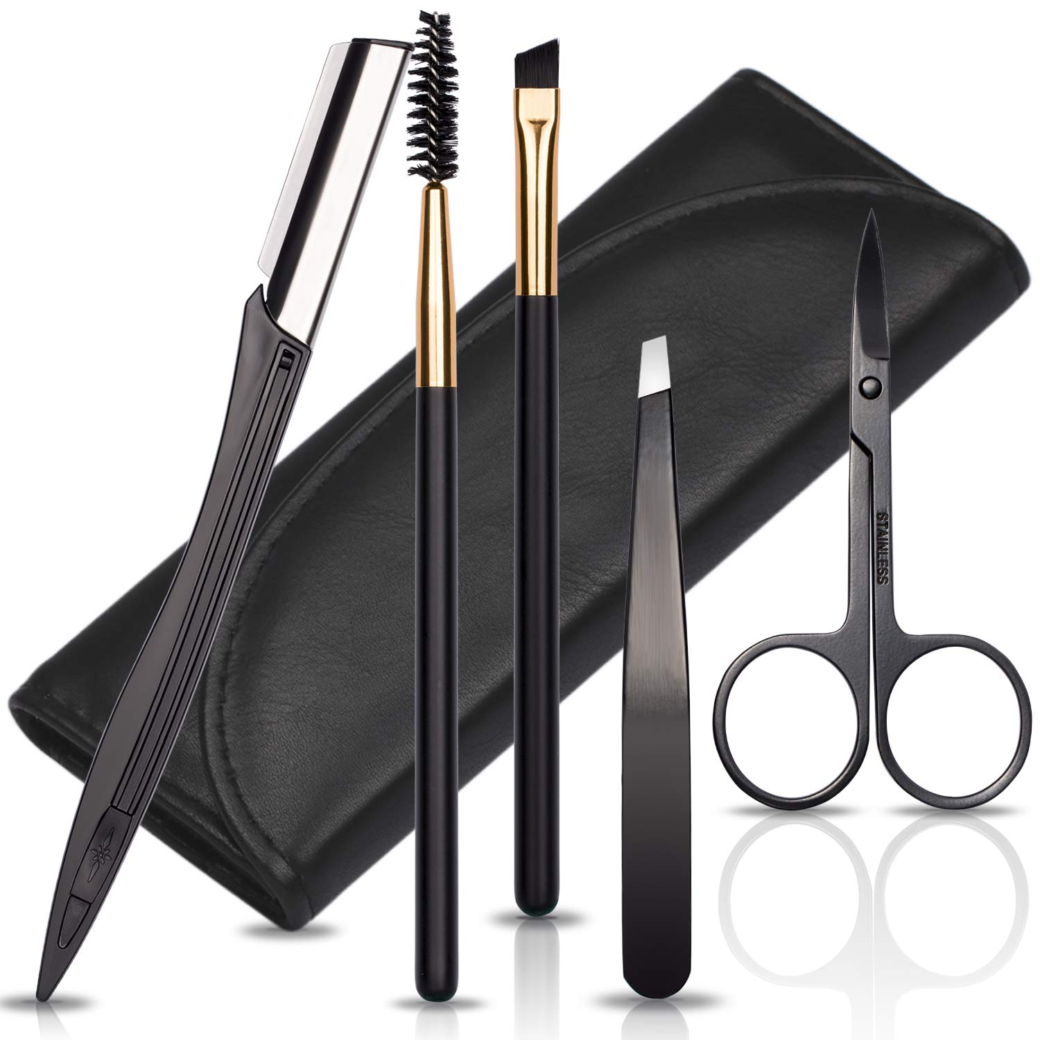 Eyebrow Tweezers Scissors and Razors Set - KASI 5pcs Stainless Steel Eyebrow Trimmer Shaver Shaper and Angled & Spoolie Brows Brushes Eyebrow Grooming Kit for Women and Men Black