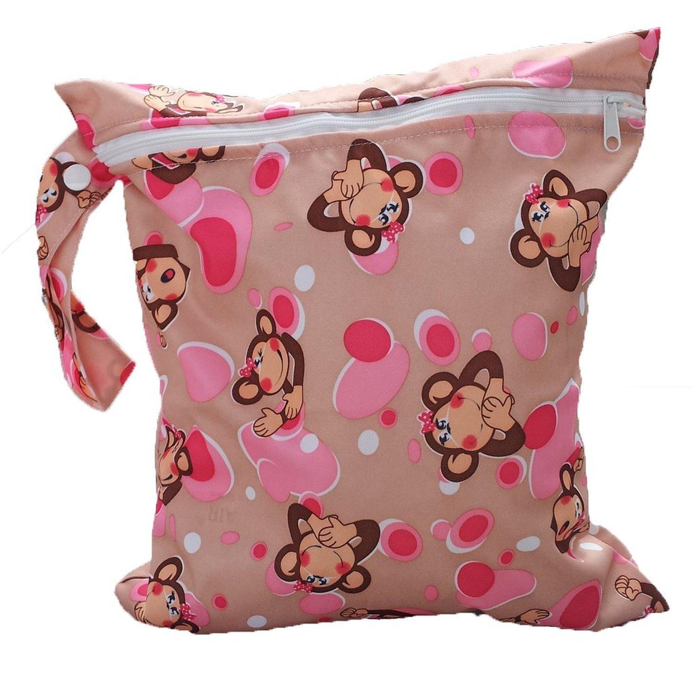 Bolsa de panales - TOOGOO(R)bolsa reutilizable de panales de tela de patron de mono de remallera para ninos 064326