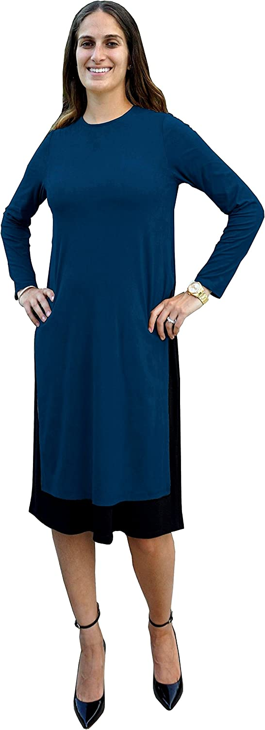 BabyO Womens Micro Suede Layered Side Slit Tunic Style Below The Knee Length Midi Dress