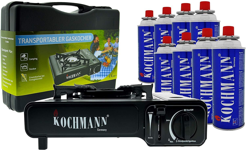Kochmann - Cocina portátil a gas, incluye maleta y 8 cartuchos de ...