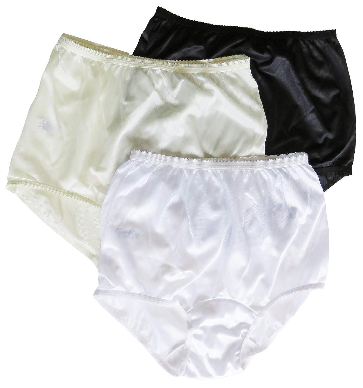 a34b868ccf3249 Carole Brand - Women's Classic Nylon Panties Full Cut Briefs - Pack of 3 at  Amazon Women's Clothing store: