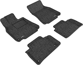 3D MAXpider Front Row Custom Fit Floor Mat for Select Toyota Sienna Models Black Classic Carpet