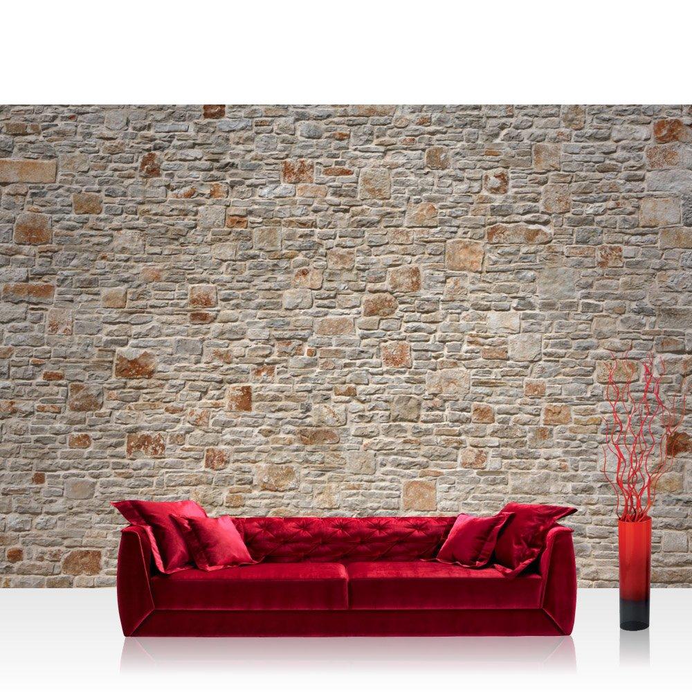 Vlies Fototapete 400x280 cm PREMIUM PLUS Wand Foto Tapete Wand Bild Vliestapete - ROYAL STONE WALL - Steinwand Steintapete Wand Wall 3D Steinmauer Steintapete - no. 082