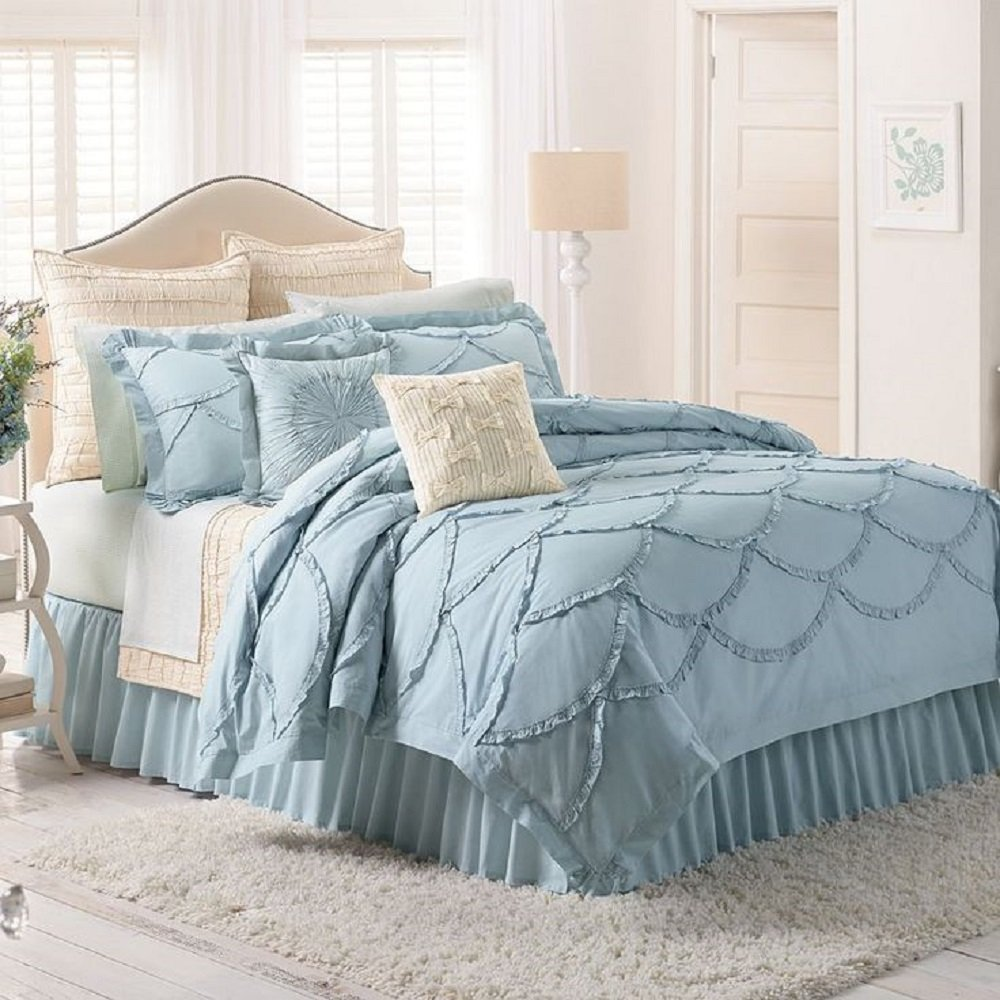 Amazon.com: LC Lauren Conrad Isabel 3 pc. Comforter Set, Sky Blue ...