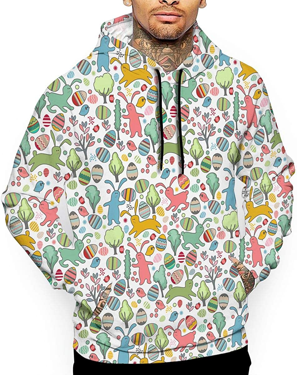 Easter Rabbits Spring Trees Mens Front Pouch Pocket Pullover Hoodie Sweatshirt Long Sleeves Pullover Tops