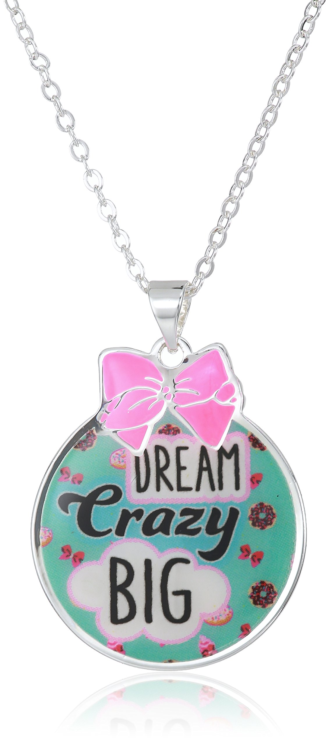 Nickelodeon Girls Jojo Siwa Silver Plated Dream Crazy Big Pendant Necklace, Multi, 16''+2''