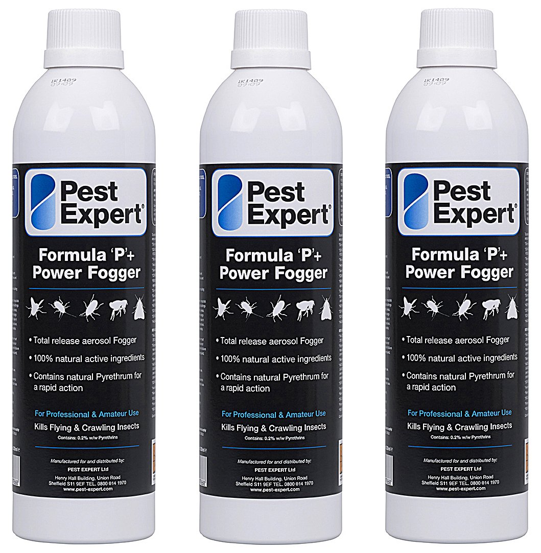Cluster Fly Killer XL Power Fogger 3 x 530ml- Formula 'P+' Fly Fumigator from Pest Expert (HSE approved and tested – professional strength product)