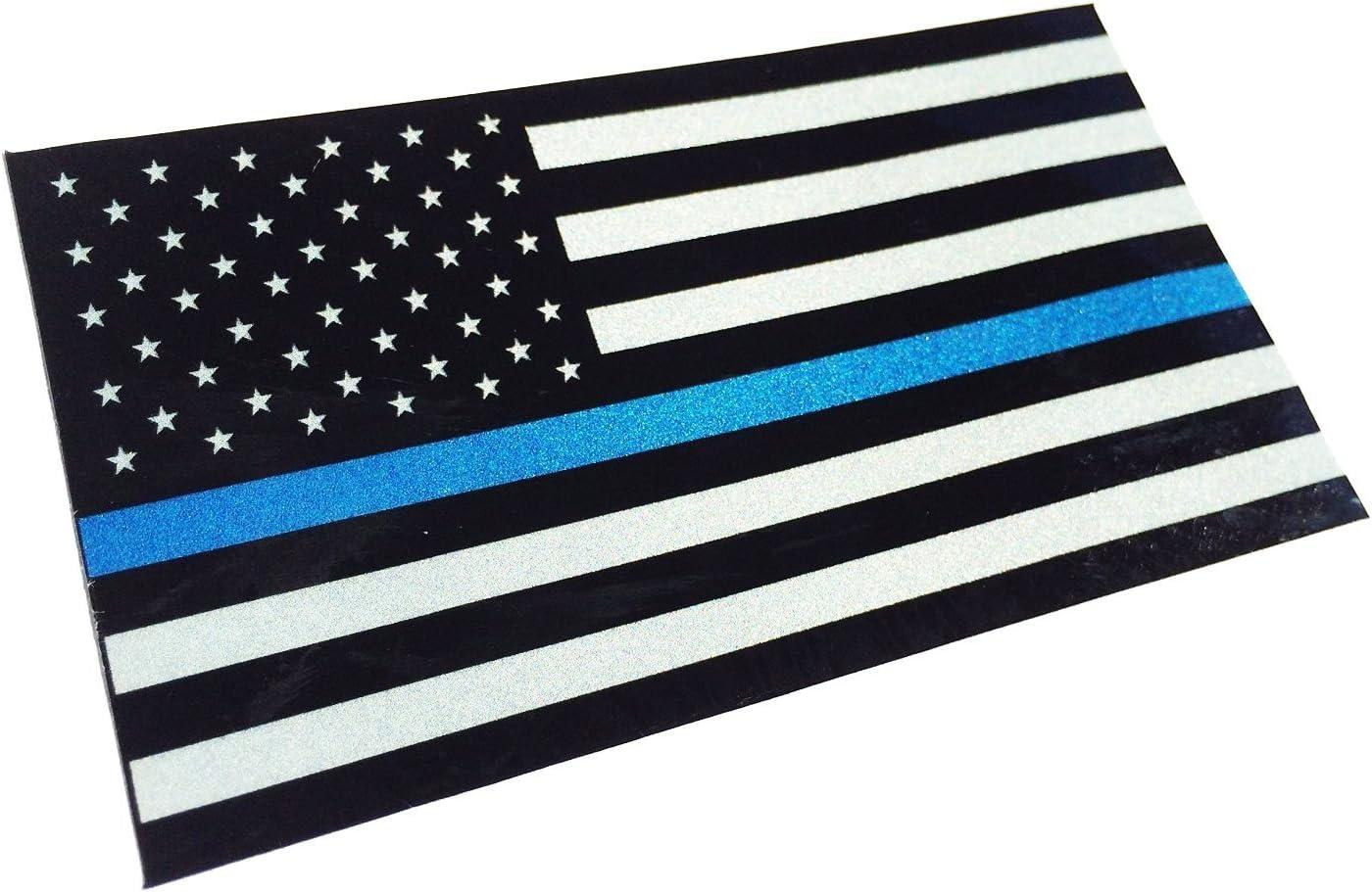 Amazon.es: Pequeña placa de licencia delgada línea azul reflectante 2 x 1