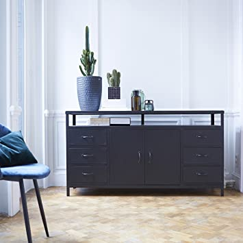 Sideboard 160 Cm Anrichte Mangoholz Metall Industriell Design