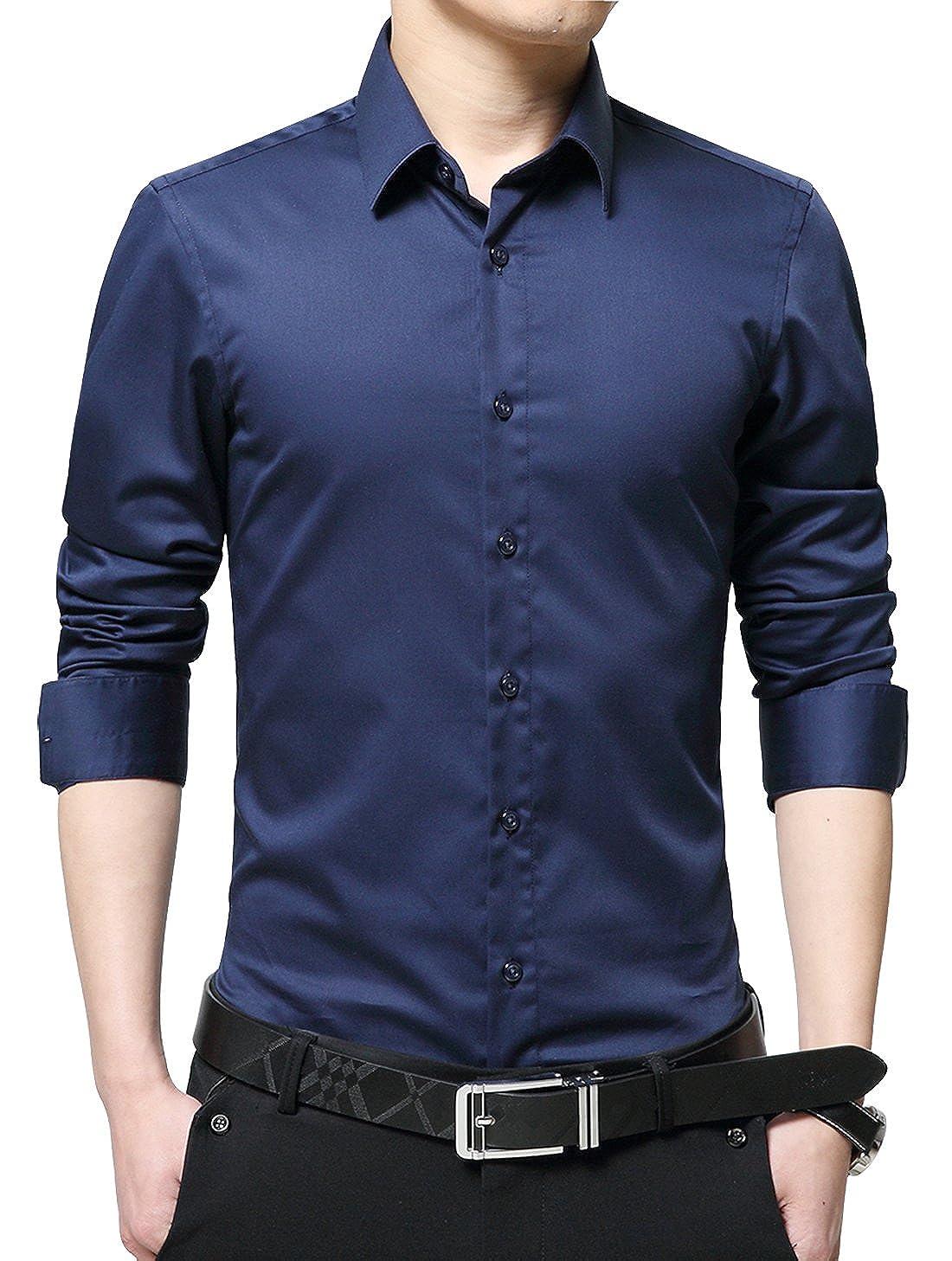 XTAPAN Men's Long Sleeve Casual Slim Fit Business Button Down Dress Shirt