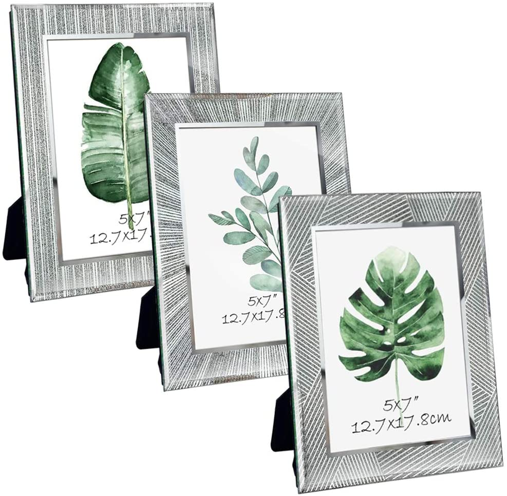 ZBEIVAN 5x7 Picture Frames 3-Pack Ornament Sparkling Glass Silver Glittery Mirrored Edge Vertical Horizontal Desk Tabletop Standing 7x5 Photo Frame