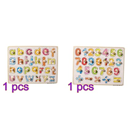 TOYMYTOY Wooden Peg Puzzle Board Baby Educational Learning Toy (Numbers + Letters