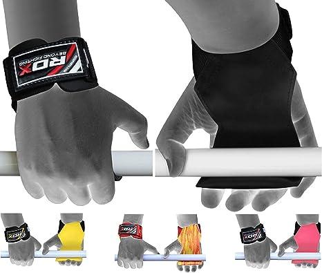 Boom per il Sollevamento Pesi Training Gym Hook Grip Guanti Cinghie Polso Supporto Sollevamento