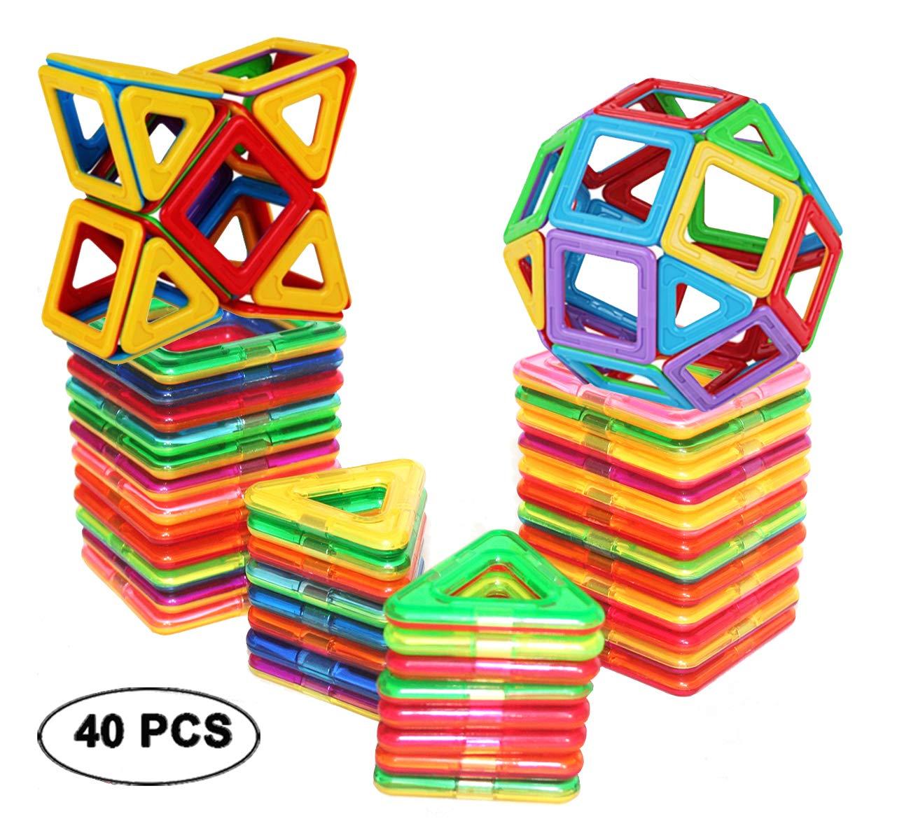 dreambuilderToy Magnetic Tiles Building Blocks Toys 40 PCS (Regular Color) by dreambuilderToy
