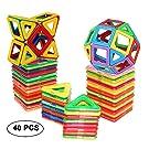 dreambuilderToy Magnetic Tiles Building Blocks Toys 40 PCS (Regular Color)