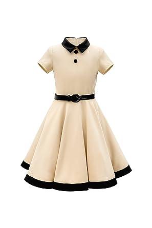 BlackButterfly Kids Lucy Vintage Clarity 50s Girls Dress (Champagne, ...