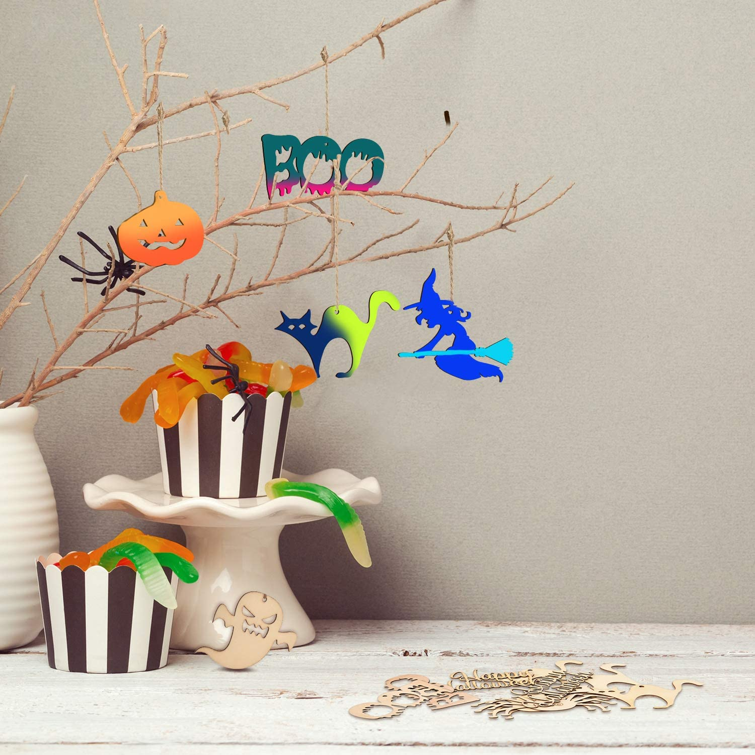 CheeseandU 100 Pieces Halloween Wooden Slices Blank Hanging Tags Pumpkin Hanging Wood Ornaments Halloween Cutouts Crafts with 100 Pieces Twine Ropes for Halloween Party Ornaments Supplies