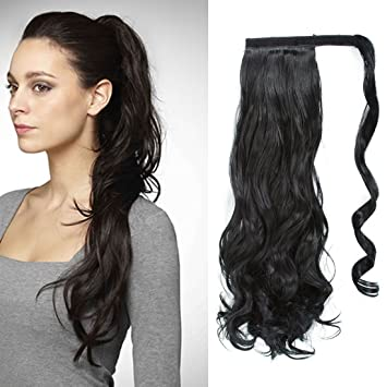 Amazon 24 Inch Long Curly Wavy Wrap Around Ponytail Extension