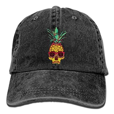 MCWO GRAY Cool Skull Pineapple Unisex Denim Baseball Cap Adjustable Strap Low Profile Plain Hats Outdoor