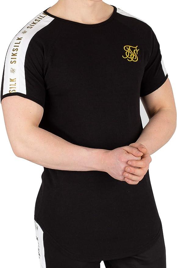 Sik Silk Hombre Camiseta de Panel, Negro