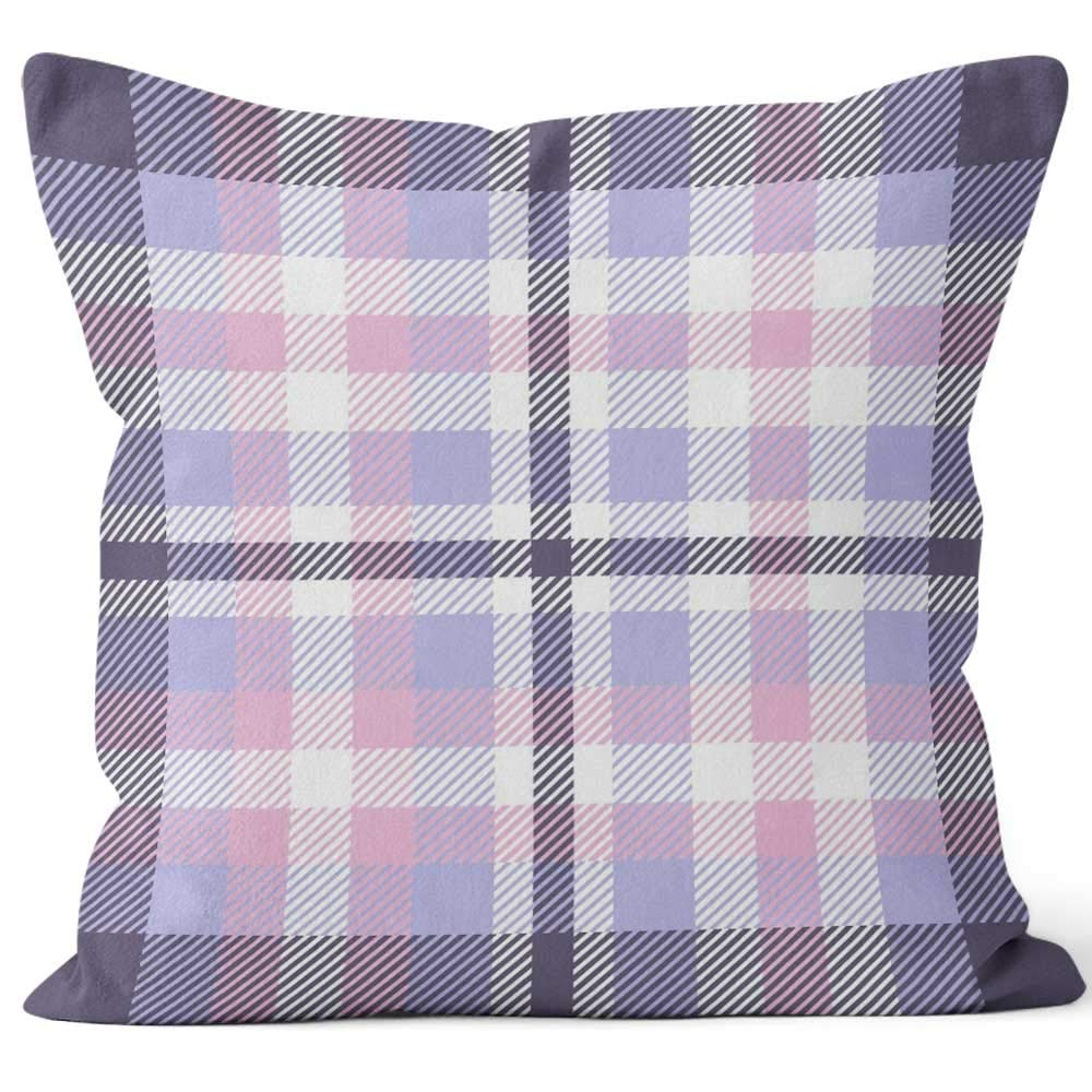 """Nine City Plaid Pattern in Pastel Periwinkle Blue Home Decor Throw Pillow Cover Cotton Linen Cushion,HD Printing for Couch Sofa Bedroom Livingroom Kitchen Car,18"""" W by 18"""" L"""