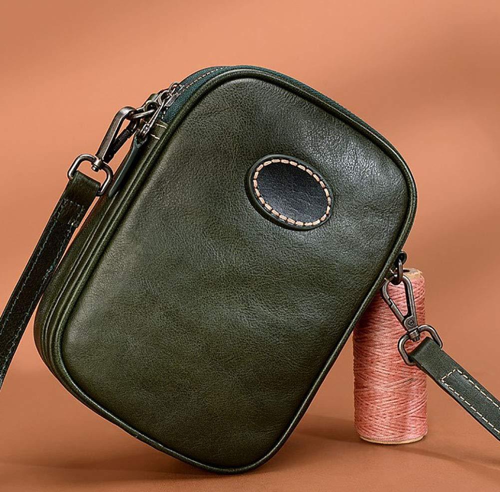 AY-MBJDFX ミニヴィンテージショルダーメッセンジャーバッグ、 仕事/旅行/ショッピング、 牛革素材、 調節可能なショルダーストラップ (色 : Green) B07H5KS2D4 Green Green