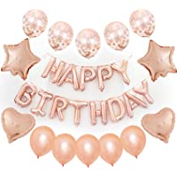 Rose Gold Happy Birthday Balloons, 40 Pack Rose Gold Confetti Balloons with Happy Birthday Foil Balloons for Birthday…