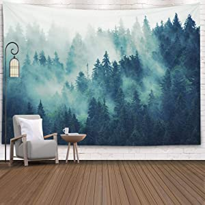 EMMTEEY Grey Tapestry Wall Hanging, Tapestries Décor Living Room Bedroom for Home Inhouse by Printed 80X60 Inches for Landscape with Fir Forest in Hipster Vintage Retro Style