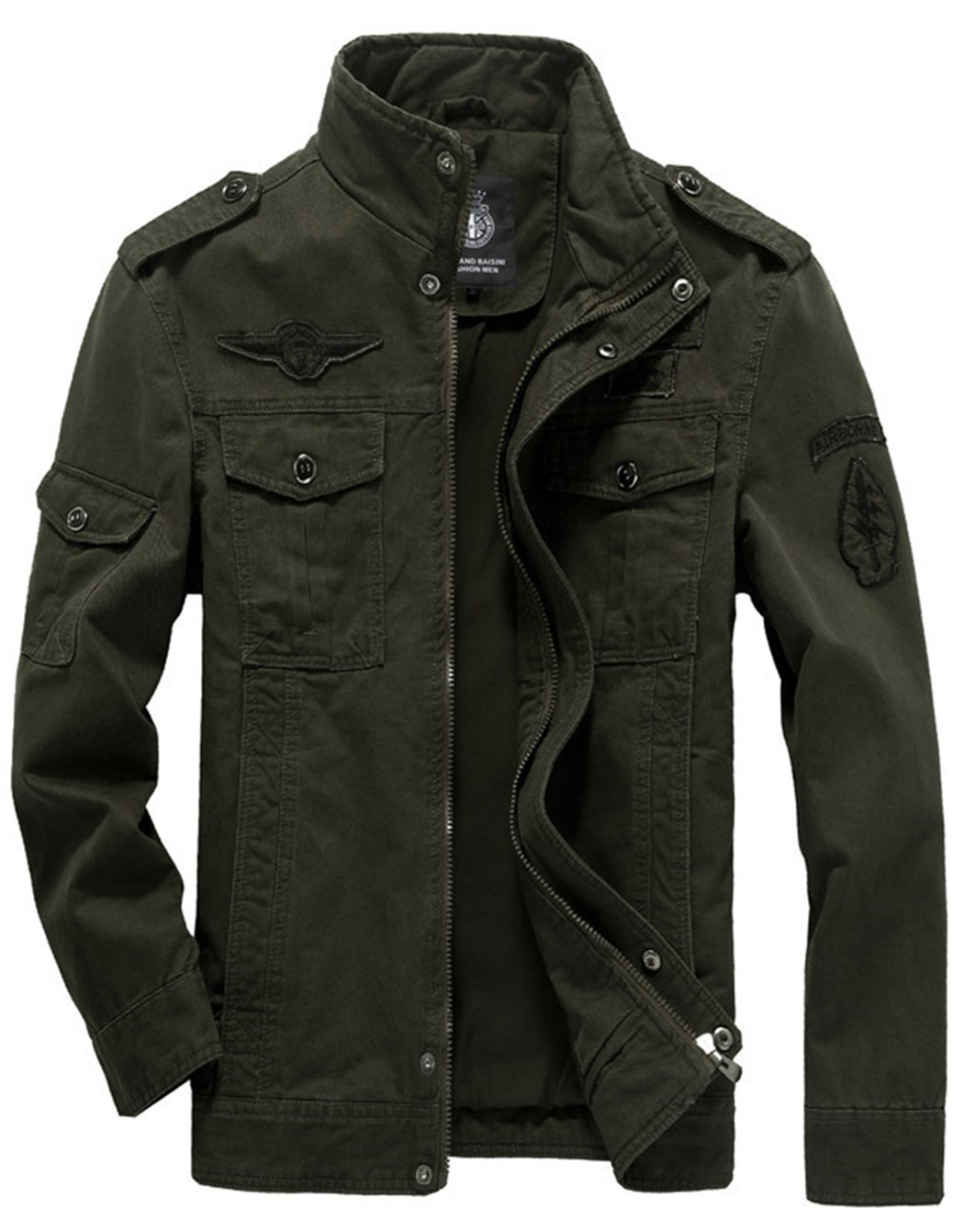 Sawadikaa Men's Cotton Lightweight Military Casual Jacket Windbreaker Wind Trench Coat Bomber Jacket Army Green Medium